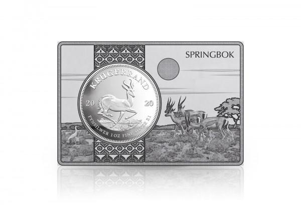 Krügerrand 1 oz Silber 2020 Südafrika eingefasst in einem Barren
