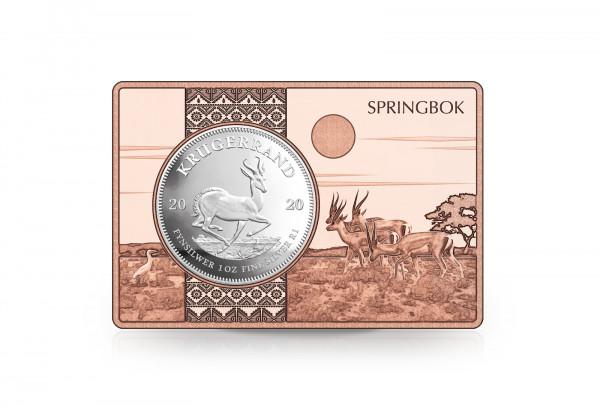 Krügerrand 1 oz Silber 2020 Südafrika eingefasst in einem Kupferbarren