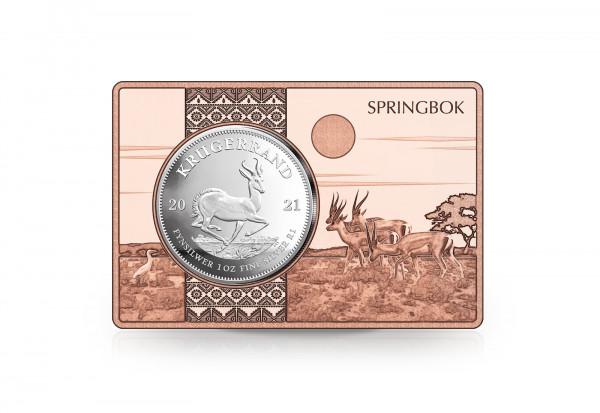 Krügerrand 1 oz Silber 2021 Südafrika eingefasst in einem Kupferbarren
