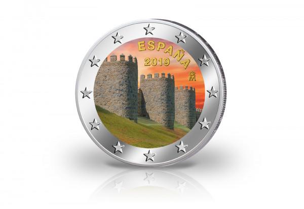 2 Euro 2019 Spanien Altstadt von Avila und Kirchen außerh. Stadtmauer mit Farbmotiv