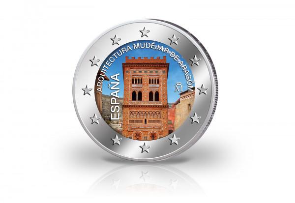 2 Euro 2020 Spanien Mudéjar Architektur in Aragón mit Farbmotiv
