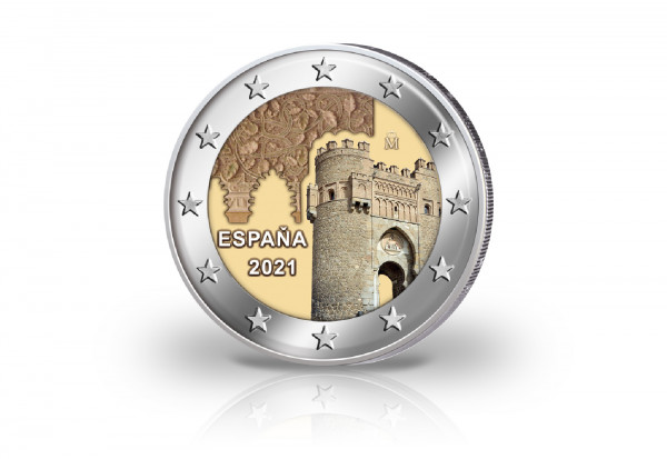 2 Euro 2021 Spanien Altstadt von Toledo mit Farbmotiv