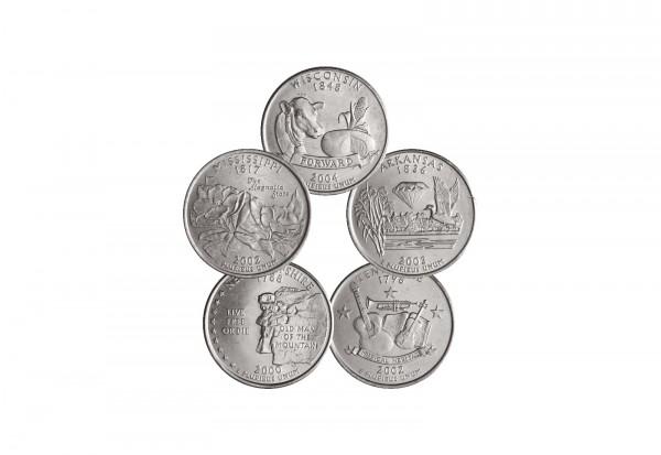 USA Quarters in 5er Set