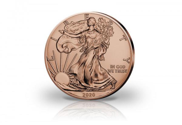 American Eagle 1 oz Silber 2020 USA veredelt mit Rotgold