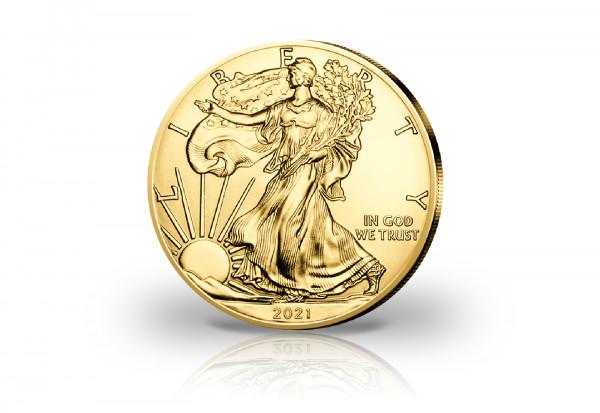 American Eagle 1 oz Silber 2021 USA veredelt mit Goldauflage