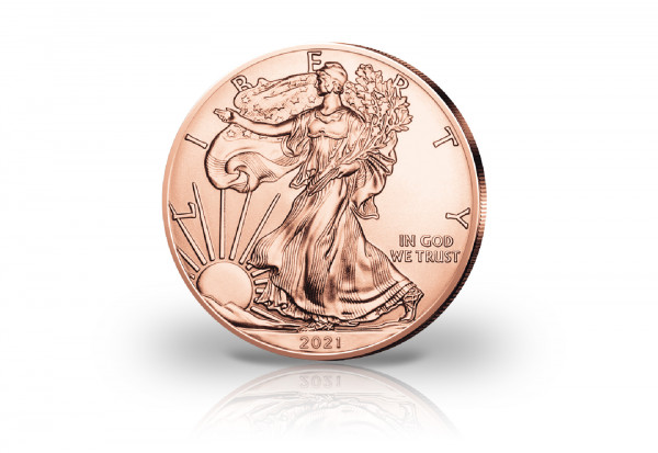 American Eagle 1 oz Silber 2021 USA veredelt mit Rotgold