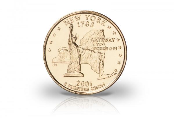 Quarter Dollar USA mit 24 Karat Goldauflage Motiv und Jahrgang unserer Wahl