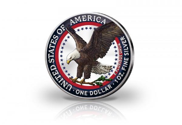 American Eagle 1 oz Silber 2021 USA Neues Motiv veredelt mit Farbapplikation