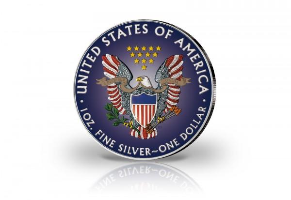 American Eagle 1 oz Silber 2019 USA veredelt mit Farbapplikation