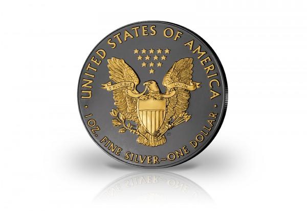 American Eagle 1 oz Silber 2019 USA veredelt mit Ruthenium und 24 Karat Goldapplikation