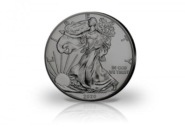 American Eagle 1 oz Silber 2020 USA veredelt mit Ruthenium