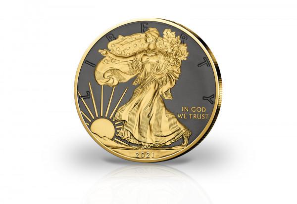 American Eagle 1 oz Silber 2021 USA veredelt mit Ruthenium und 24 Karat Goldauflage