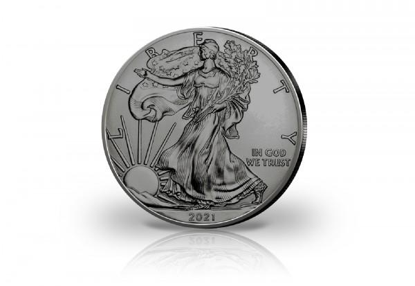 American Eagle 1 oz Silber 2021 USA veredelt mit Ruthenium