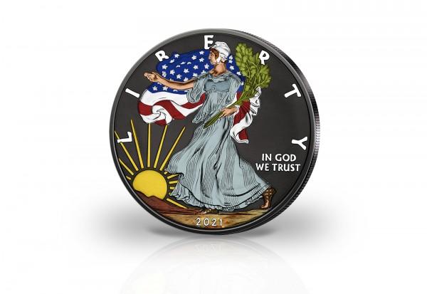 American Eagle 1 oz Silber 2021 USA veredelt mit Ruthenium und Farbapplikation