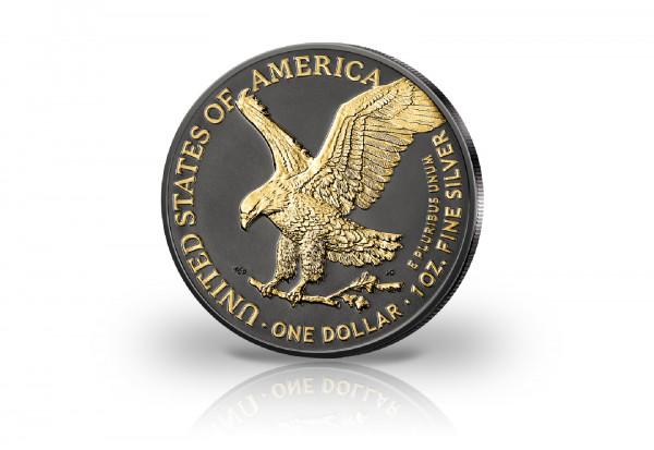 American Eagle 1 oz Silber 2021 Neues Motiv veredelt mit Ruthenium und 24 Karat Gold