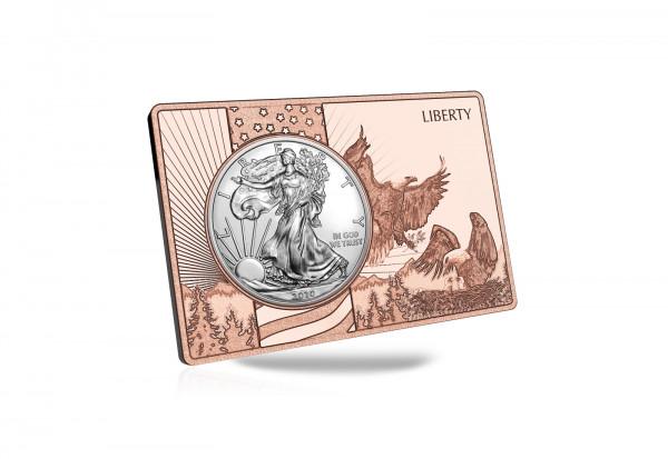 American Eagle 1 oz Silber 2020 USA eingefasst in einem Kupferbarren