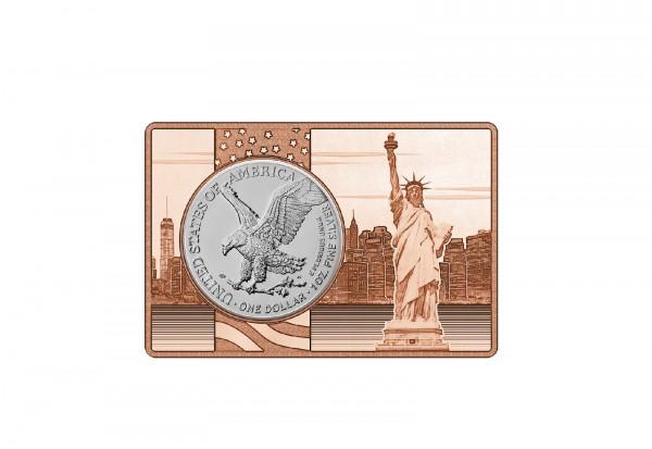 Amercian Eagle 1 oz Silber 2021 USA Neues Motiv eingefasst in einem Kupferbarren