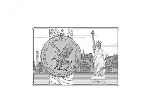 American Eagle 1 oz Silber 2021 USA Neues Motiv eingefasst in einem Barren