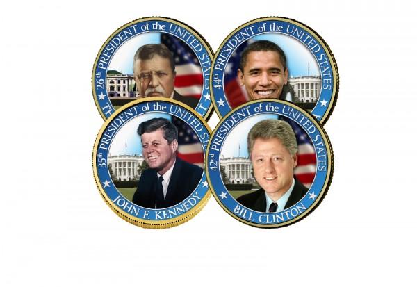 USA Präsident auf 1/2 Dollar diverse Motive Kaltemaille mit 24 Karat Goldapplikation