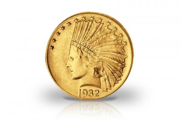 10 Dollars Goldmünze 1908-1933 USA Indian Head ss-vz