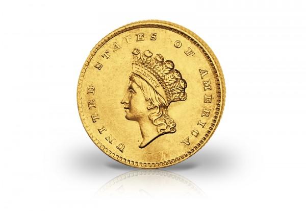 1 Dollar Goldmünze 1854-1856 USA Small Indian Head ss