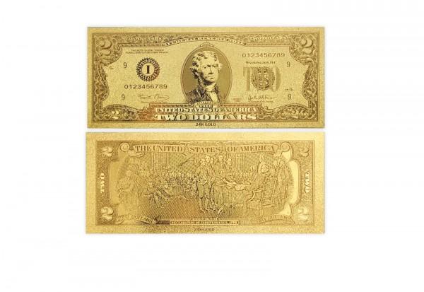Goldfoliennote: US 2 Dollar
