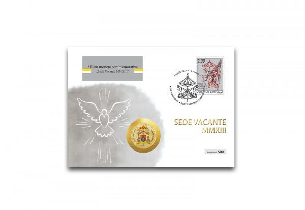 Numisbrief Sede Vacante 2013 mit 2 Euro veredelt mit Kaltemaille