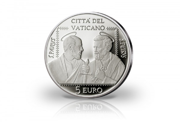5 Euro Silbermünze 2021 Vatikan Sankt Peter und Sankt Paul Assoziation
