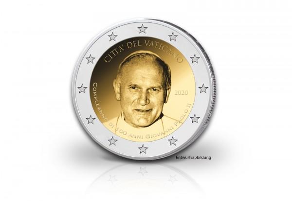 2 Euro 2020 Vatikan 100. Geburtstag Papst Johannes Paul II. st im Blister
