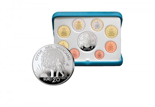 Kursmünzensatz 2019 Vatikan PP inkl. 20 Euro Silbergedenkmünze im Etui