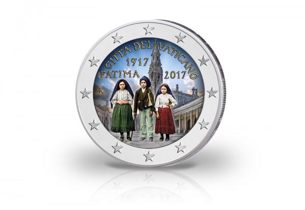 2 Euro 2017 Vatikan 100 Jahre Erscheinung von Fatima st mit Farbapplikation