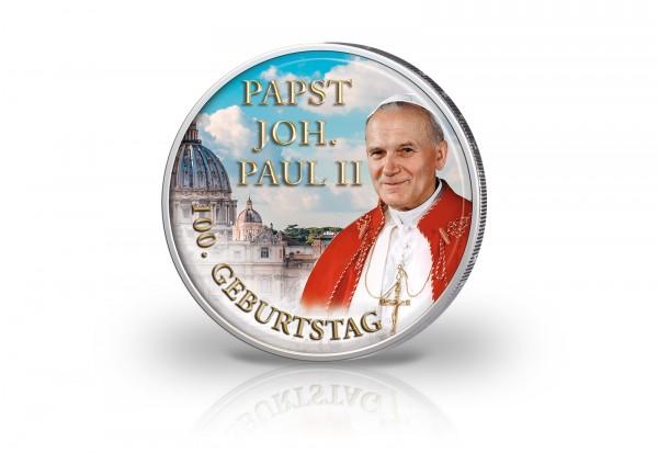 2 Euro mit Farbmotiv 100. Geburtstag Papst Johannes Paul II.