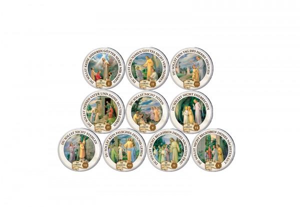 10 Gebote Vatikan 10er Kollektion mit Farbmotiv im Etui inkl. Zertifikat