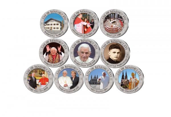 Lebensweg Papst Benedikt XVI. 10er Kollektion mit Farbmotiv im Etui
