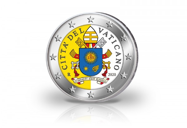 2 Euro 2020 Vatikan Kursmünze mit Farbmotiv