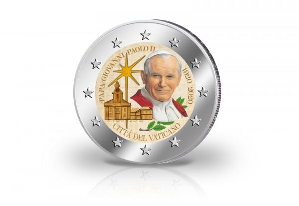 2 Euro 2020 Vatikan 100. Geburtstag Papst Johannes Paul II. mit Farbmotiv