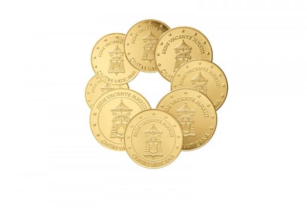 Prestigesatz Vatikan 2013 Sedisvakanz mit 24 Karat Goldauflage