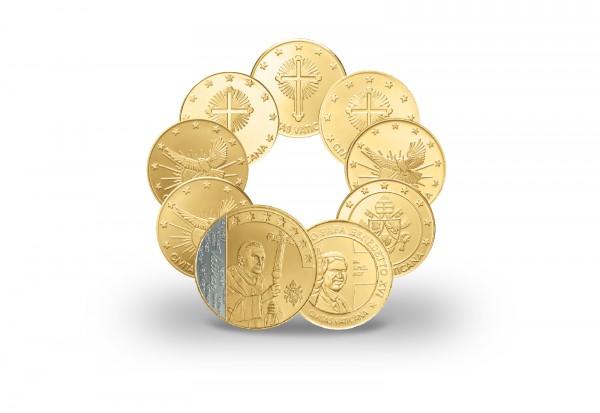 Prestigesatz Papst Benedikt XVI. 85. Geburtstag mit 999er Goldauflage und Rhodiumausgabe