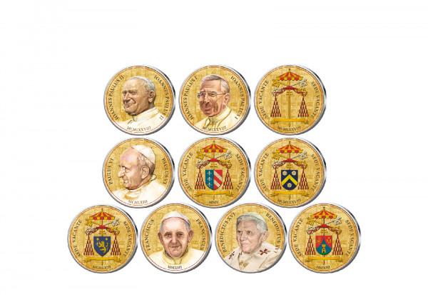 Vatikan Sedisvakanz 10er Kollektion mit Farbmotiv im Etui