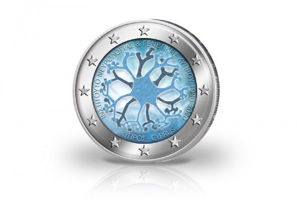 2 Euro 2020 Zypern 30 Jahre Institut für Neurologie und Genetik mit Farbmotiv