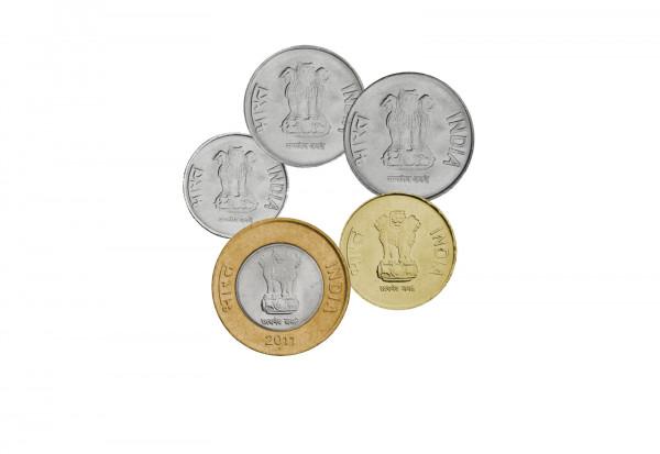 Münzsatz Indien 50 Paise - 10 Rupees 5 Münzen