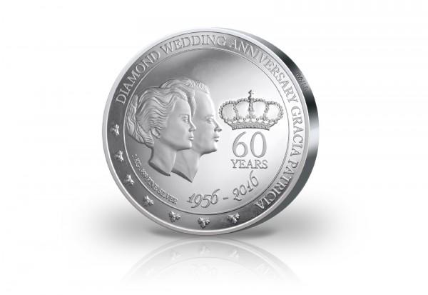 100 Dollar Silbermünze Diamantenhochzeit mit 60 Diamanten im Etui