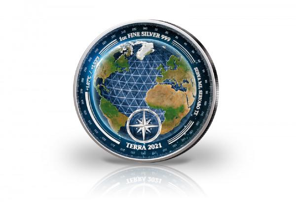 Terra 1 oz Silber 2021 veredelt mit Farbapplikation