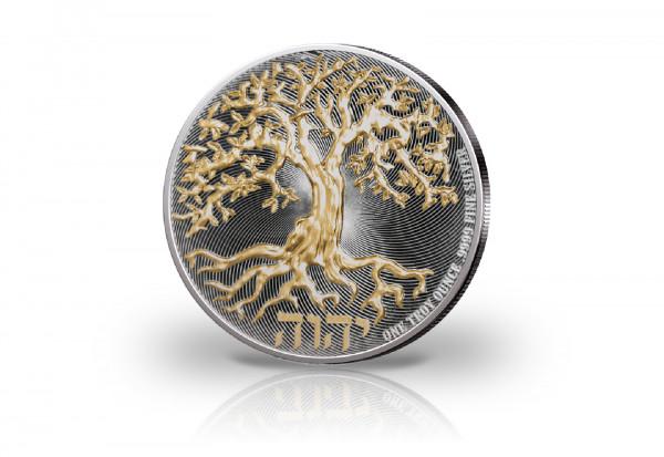 Tree of Life 1 oz Silber 2020 veredelt mit Ruthenium und 24 Karat Goldapplikation