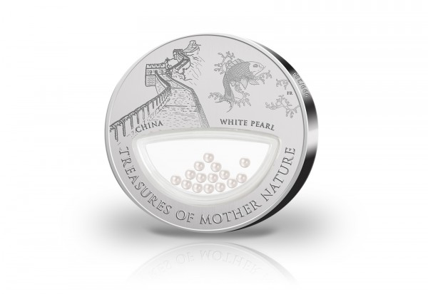 1 Dollar Silbermünze China Treasures of Mother Nature China mit Perlen Inlay im Etui