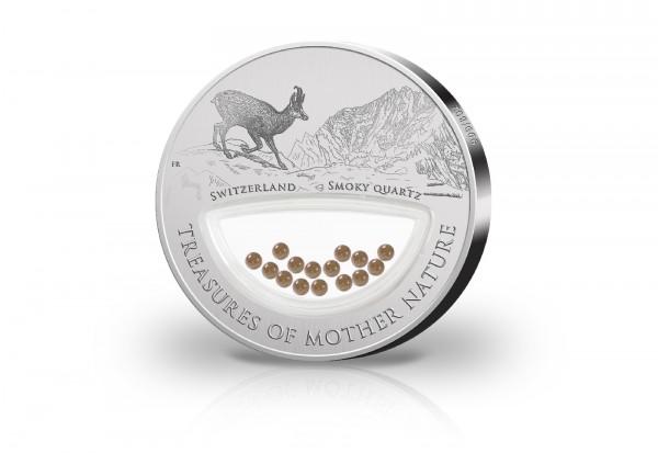 1 Dollar Silbermünze Treasures of Mother Nature Switzerland mit Rauchquarz Inlay im Etui