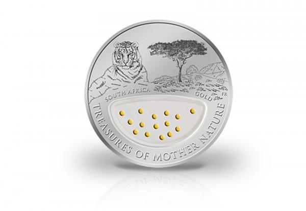1 Dollar Silbermünze Treasures of Mother Nature South Africa mit Goldeinlagen im Etui