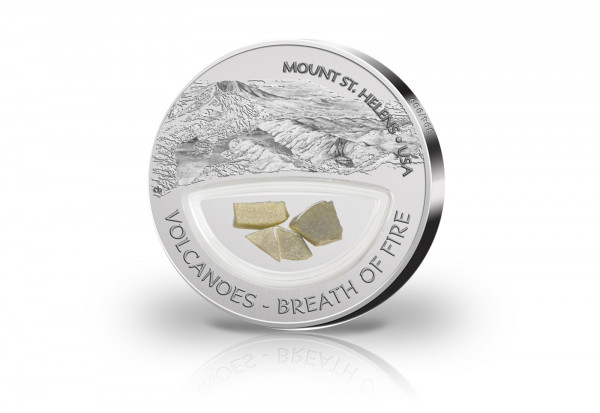 10 Dollar Silbermünze Mount St. Helens mit Goldobsidiane im Etui