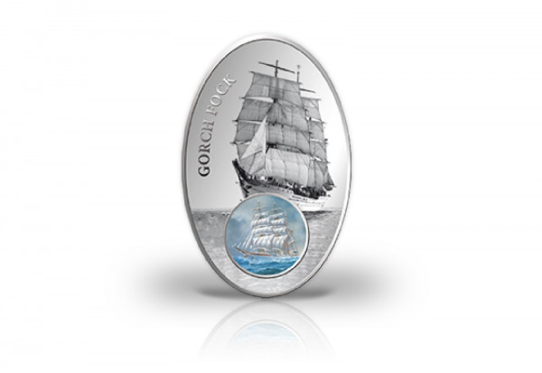 Gorch Fock II. 1000 Francs Silbermünze Benin 2013 PP im Etui