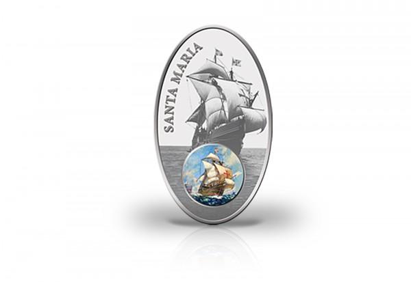 Santa Maria 1000 Francs Silbermünze 2013 Benin mit Glasintarsie PP